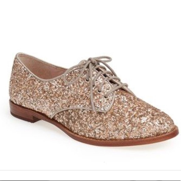0a193ebec10e kate spade Shoes - Kate spade rose gold glitter lace up oxfords